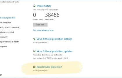 Atualização do Windows 10 vai permitir proteção contra ransomware