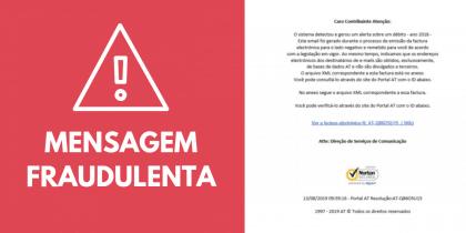 Mensagem fraudulenta simula email enviado pela Autoridade Tributária e Aduaneira
