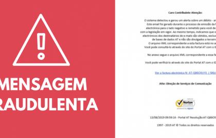 Mensagem Fraudulenta simula email da Autoridade Tributária